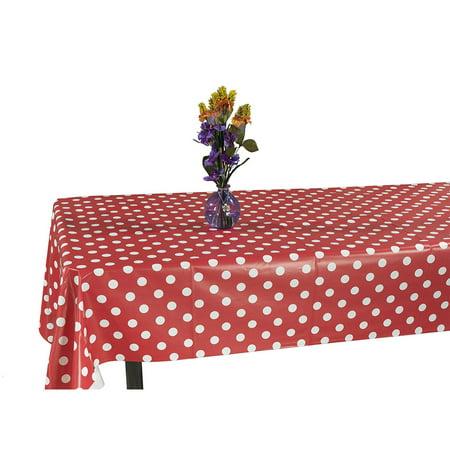 Pink Vinyl Tablecloth (Ottomanson Vinyl Polka Dot Design 55