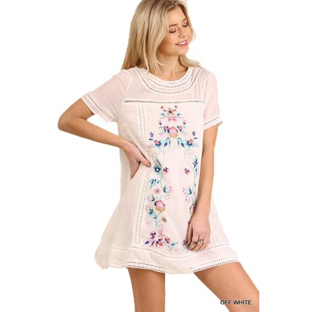0c1c417eba2e Umgee - Umgee Women's Bohemian WHITE Embroidered Short Sleeve Dress or  Tunic - Walmart.com
