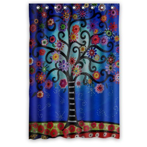 HelloDecor Mexican Style Tree Flower Floral Thick Shower