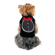 Black Red Satin Bow Tie Tuxedo Soft Cotton Tee For Dog Clothing Clothes - Small (Gift for Pet)