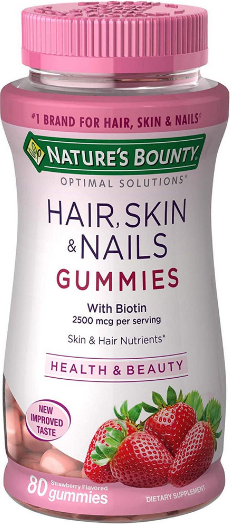 9 Pack   Nature's Bounty Optimal Solutions Hair, Skin and Nails Gummies  with Biotin, Strawberry Flavored 9 ea