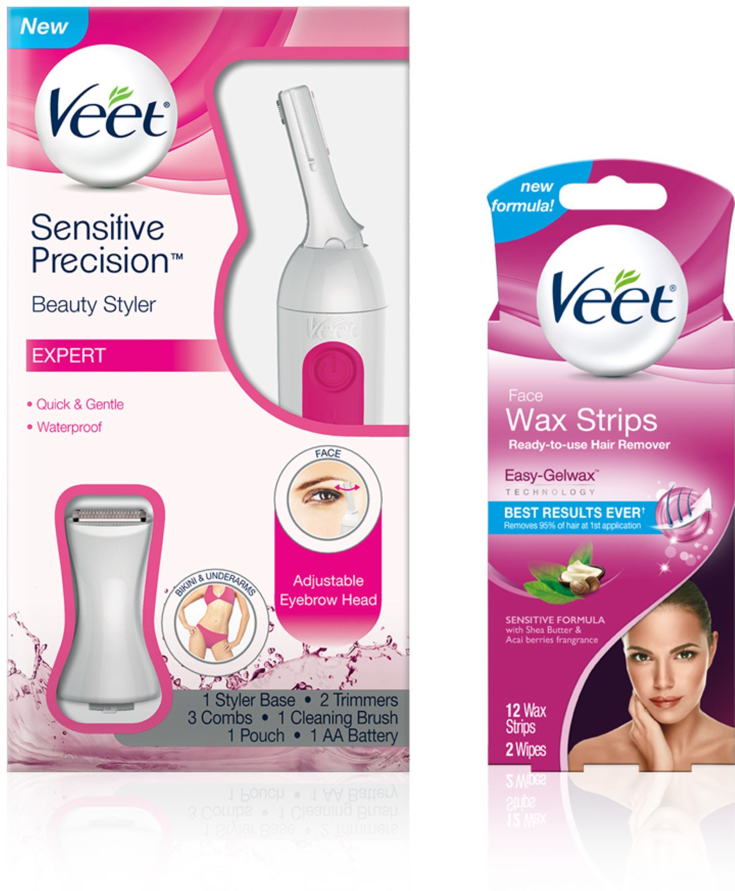 Veet Facial Hair Remover Kit With Face Wax Strips 12cnt