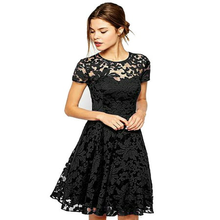 OUMY Women Short Sleeve Lace Cocktail Evening Party Mini Dress (Medieval Dresses For Women)