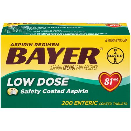 Acetaminophen Pain Reliever Aspirin (Aspirin Regimen Bayer Low Dose Pain Reliever Enteric Coated Tablets, 81mg, 200)