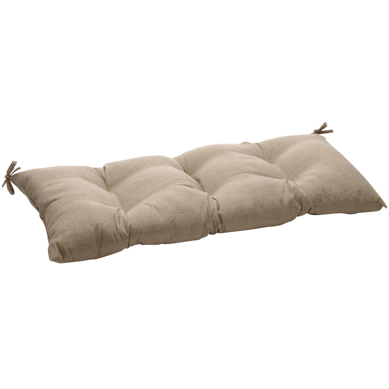 """44"""" Eco-Friendly Textured Taupe Outdoor Tufted Loveseat Cushion"""