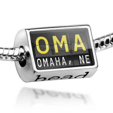 Bead OMA Airport Code for Omaha, NE Charm Fits All European Bracelets - Party America Omaha Ne
