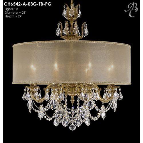 American Brass & Crystal Llydia 8-Light Drum Chandelier