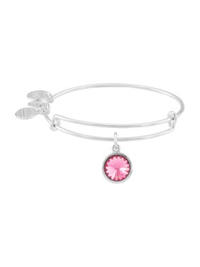 Women's Crystal Birthstone October Rose Shiny Silver Cubic-Zirconia Charm Bracelet