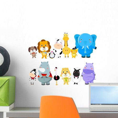 Set Zoo Animals Wall Decal by Wallmonkeys Peel and Stick Graphic (18 in W x 17 in H) WM274399
