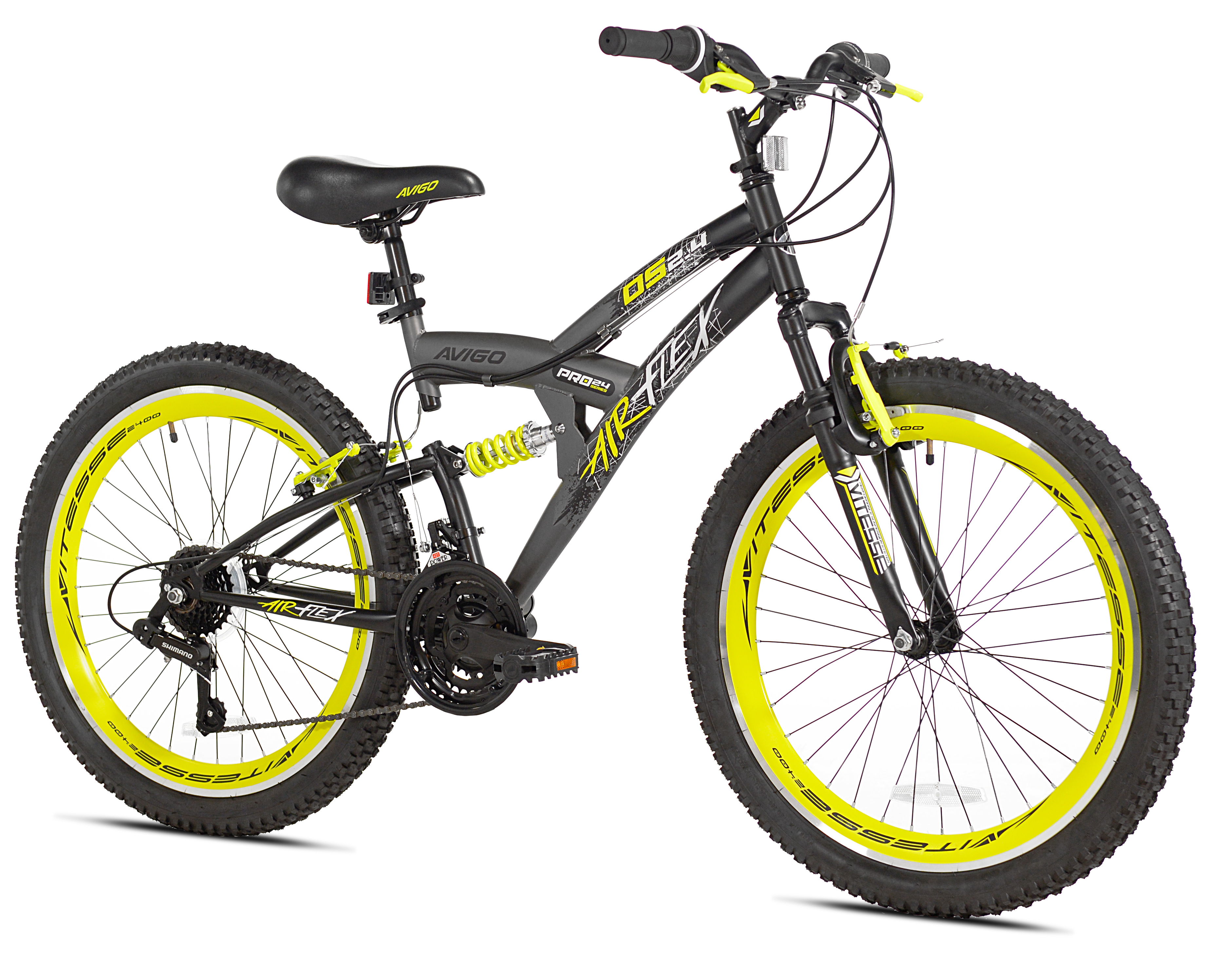"Avigo 24"" Air Flex Dual Suspension Men's Bike, Grey, For 4'6"" Height Sizes and Up by Kent International Inc"