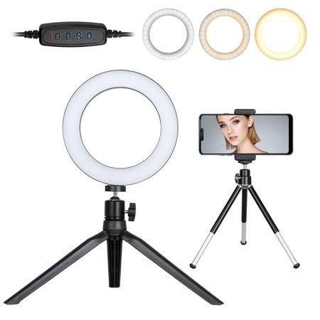 "LED Ring Light, EEEKit 6"" Selfie Selfie Ring Light with Tripod Stand & Cell Phone Holder for for Makeup YouTube Video Live Stream, Mini LED Camera Light with 3 Light Mode & 10 Brightness Level ()"