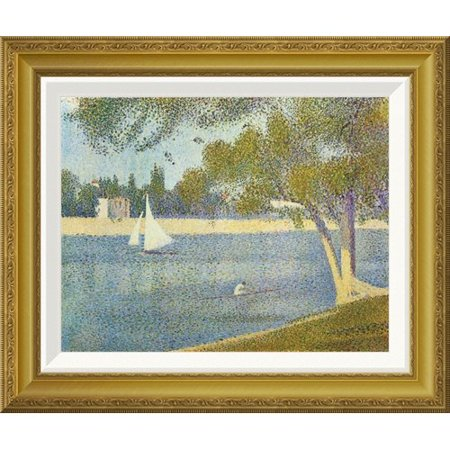 Global Gallery The Seine At La Grande Jatte In The Spring By Georges Seurat Framed Painting Print