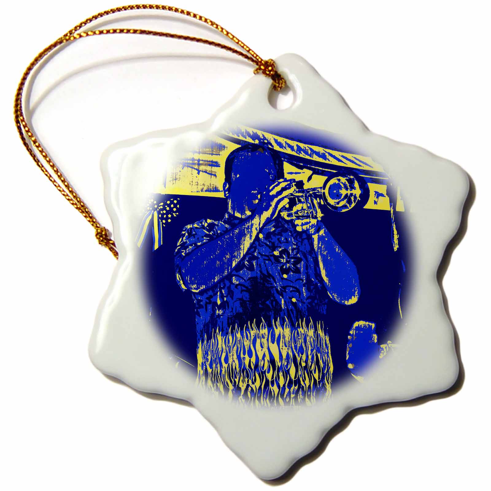 3dRose blue and yellow trumpet player, Snowflake Ornament, Porcelain, 3-inch