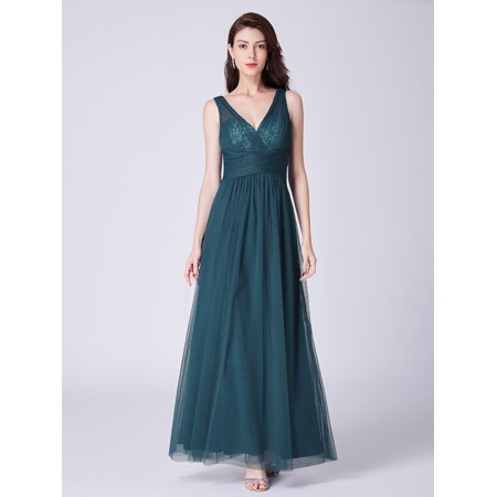 Ever-Pretty Women's Elegant V-Neck Sequins Long Bridesmaid Homecoming Party Maxi Dresses for Women 07458 Teal US 4