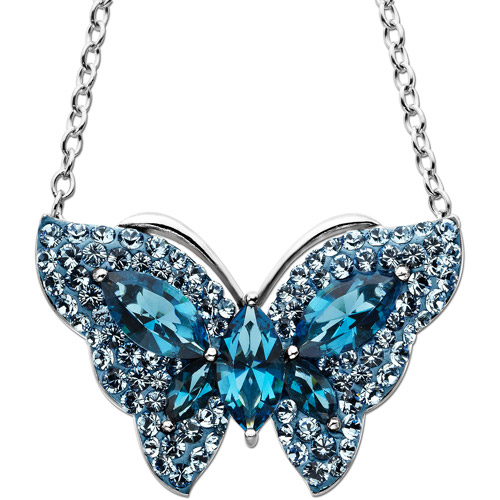 Luminesse Sterling Silver Blue Butterfly Pendant made with Swarovski Elements, 18""