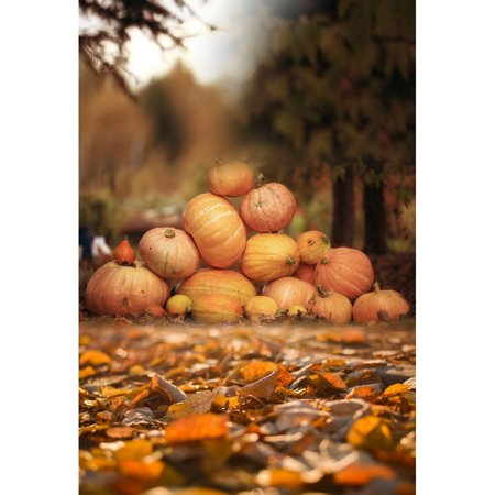 MOHome Polyster 5x7ft Happy Halloween Leaves Photography Backdrop Newborn Family Photo - Halloween Family Photo Ideas