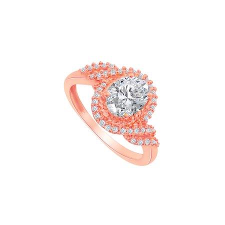 CZ Swirl Design Ring in 14K Rose Gold Vermeil - image 2 de 2