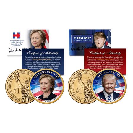 Donald TRUMP & Hillary CLINTON 2016 Presidential Golden $1 Dollar US 2-Coin Set