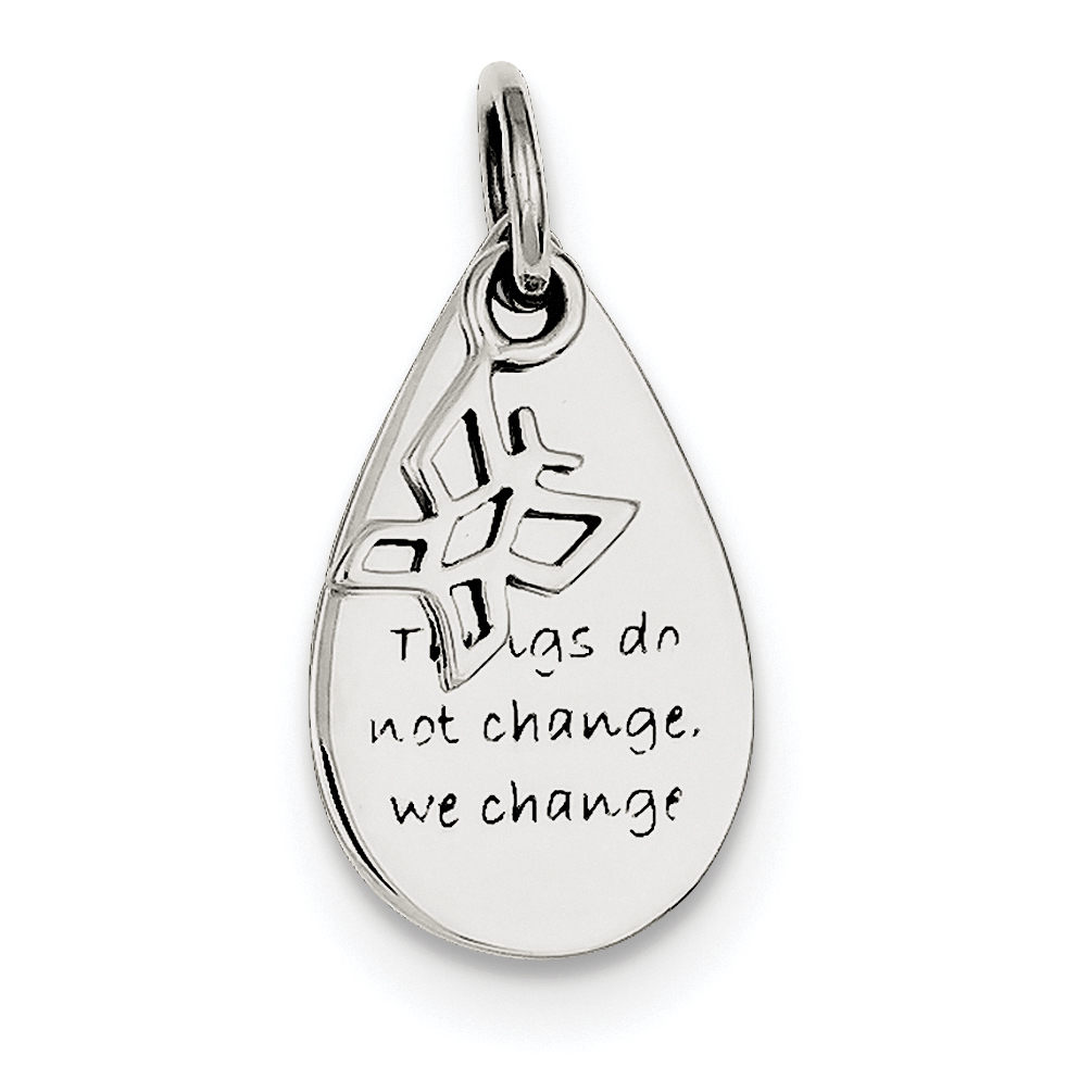 12mm x 22mm Solid 925 Sterling Silver Things Do Not Change Rain Drop//Butterfly Pendant Charm
