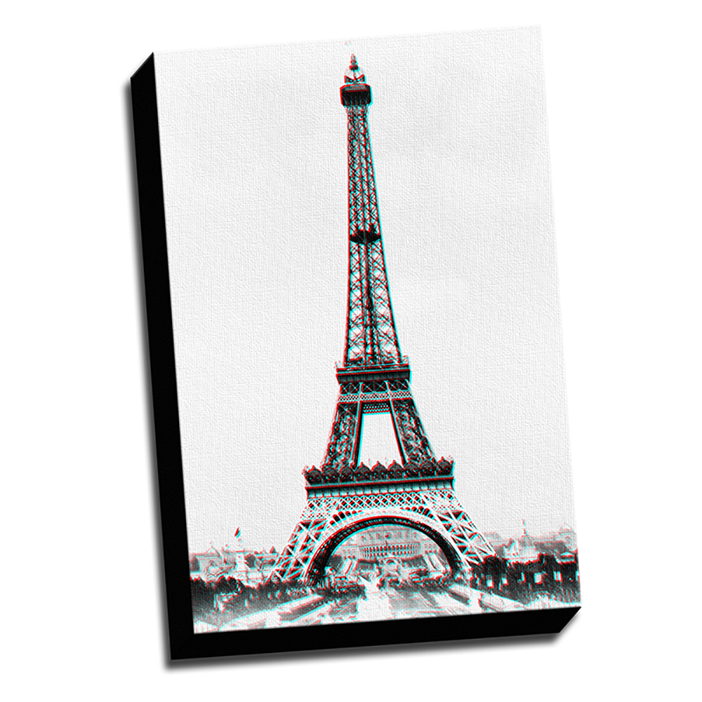Eiffel Tower Anaglyph 3D Printed on Canvas Stretched Framed Ready to Hang