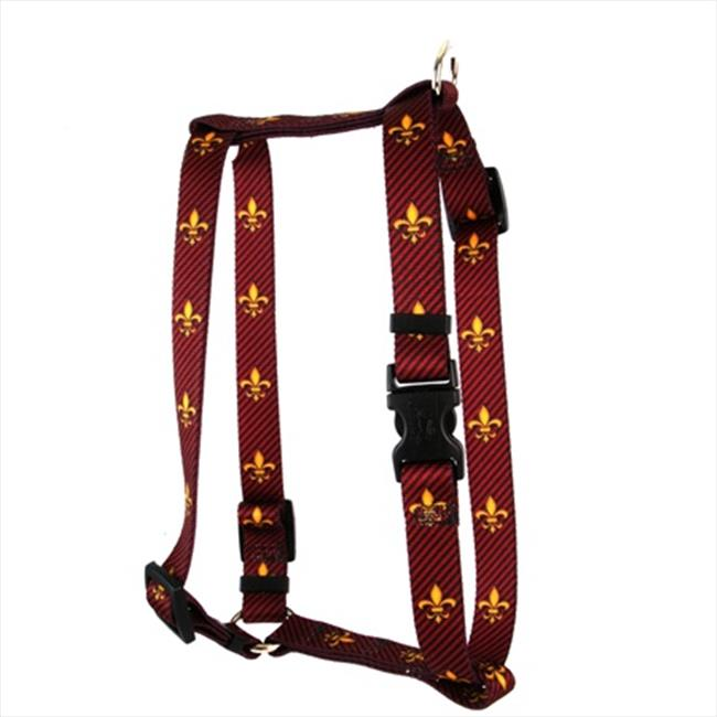 Yellow Dog Design H-FDLR103L Fleur de Lis Red Roman H Harness - Large