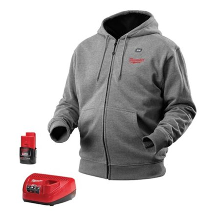 Milwaukee M12 Gray Heated Hoodie Kit with Battery for $<!---->