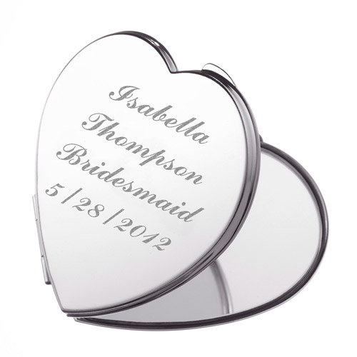 Personalized Silver Plated Heart Compact Mirror