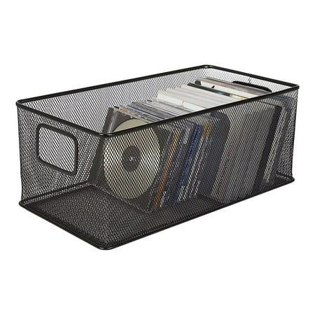 Staples Black Wire Mesh Large DVD Storage Box 222814 (Wire Mesh Storage Cubes)
