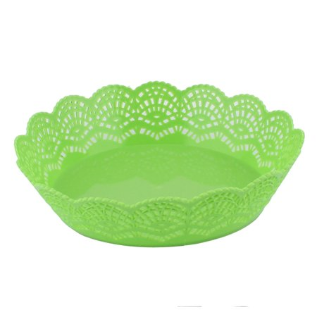 Home Kitchenware Plastic Hollow Out Wave Edge Fruit Plate Basket Green ()
