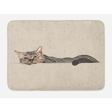 Cat Bath Mat Lazy Sleepy Cat Figure In Earth Tones Cute