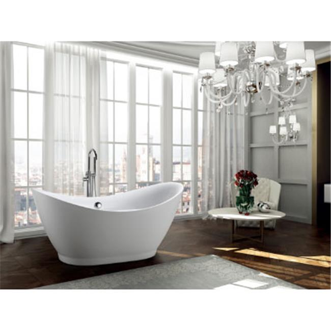 68 in. Freestanding Soaking Bathtub, Glossy White