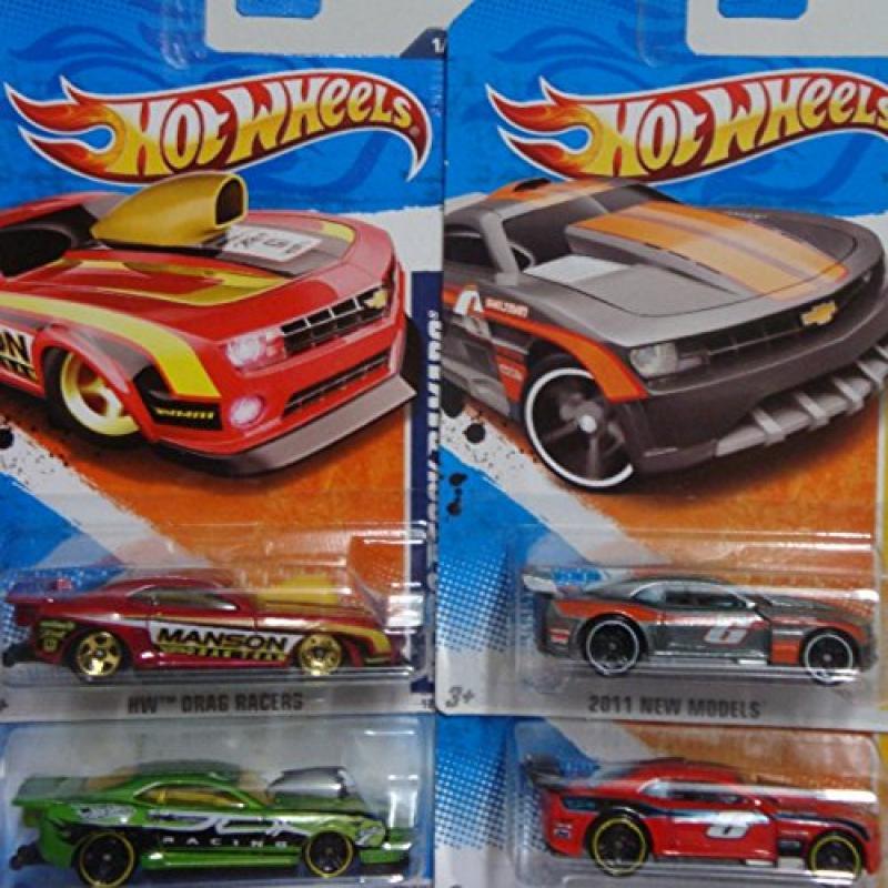Hot Wheels Detailed Diecast Custom Camaro Replica-bundle: Custom 2011 Camaro Gray & Red Black Wheel #5, Custom Camaro Dragster #38 Green, Icluding The Custom 2010 Camaro #121 Manson Drag Team 5 Spoke