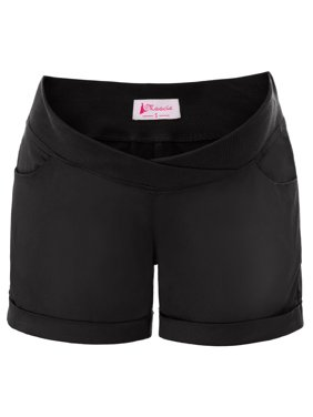 Womens Maternity Low-Rise Casual Elastic Waist Summer Shorts with Pockets