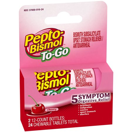 Pepto-Bismolâ ¢ To-Go Cherry Flavor Digestive Relief Chewable Tablets 2â 12 ct Bottles