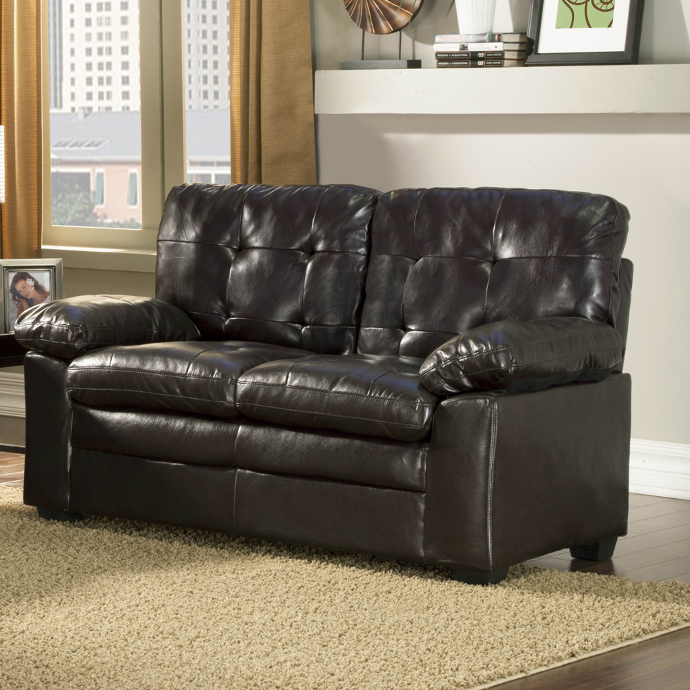Homelegance Charley 9715PU-2 Bi-Cast Vinyl Love Seat, Dark Brown