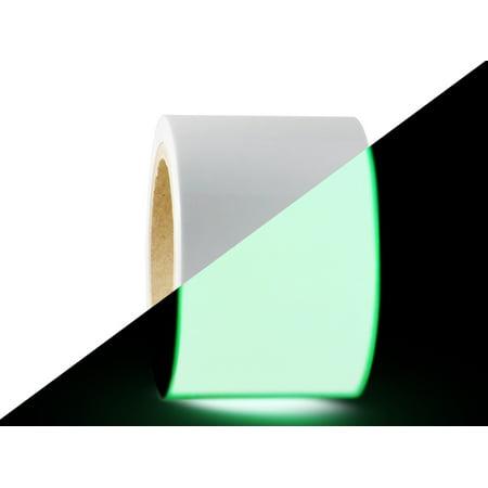 T.R.U. PGD-6 Glow In The Dark Tape: 4 in. wide x 30 ft. length (Luminescent Lime Green). Photoluminescent Neon Green Tape. (Green Glow 4 Price)