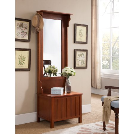 Aaric Walnut Wood Contemporary Entryway Mirrored Coat & Hat Rack Stand Hall Tree Organizer Dispaly With Storage Bench ()