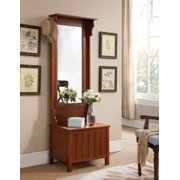 Aaric Walnut Wood Contemporary Entryway Mirrored Coat Hat Rack Stand Hall Tree Organizer Dispaly With