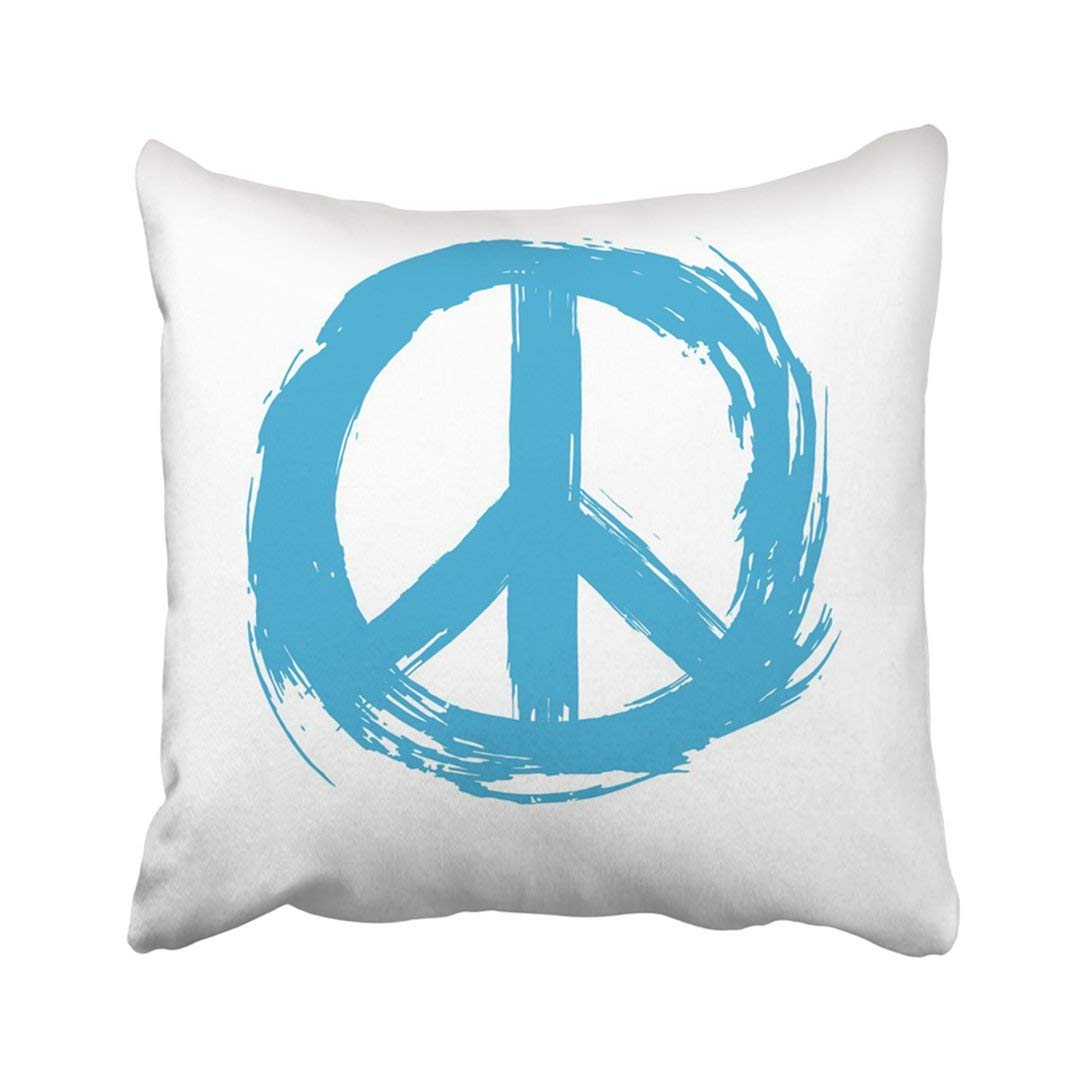 WOPOP Blue Sign Symbol Peace Drawn White Hippie Love Abstract Aqua Celebration Circle Color Pillowcase 20x20 inch