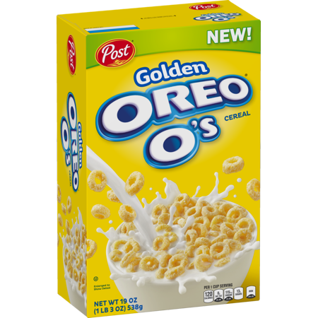 (2 Pack) Post Golden Oreo O's Breakfast Cereal, Oreo Cookie, 19 Oz (Oreo Mint)