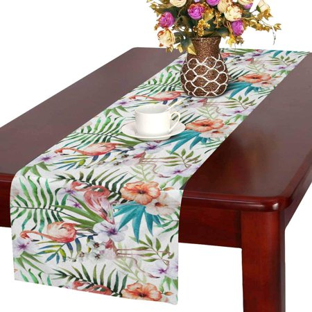 MKHERT Flamingos Bird with Palm Leaves and Hawaiian Hibiscus Flowers Table Runner for Office Kitchen Dining Wedding Party Banquet 16x72 Inch](Hawaiian Table Runner)
