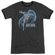 DC Comics Retro Desaturated Batman Distressed Adult Ringer T-Shirt Tee