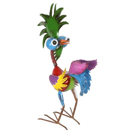 Alpine Wild Tropical Metal Rooster Décor Statue, 19 Inch (4 Metal Statue)