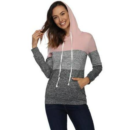 49144060de2b2 Fancyleo Women's Long Sleeve Splice 3 Color Stitching Basic Lightweight  Pullover Hoodie Sweatshirt Pink S