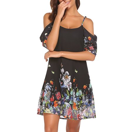Summer Boho Style Women's Summer Chiffon Floral Printed Cold Shoulder Loose Short - Floral Chiffon Dress