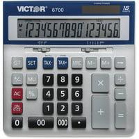Victor, VCT6700, 16-Digit Desktop Calculator, 1 Each, Silver,Blue