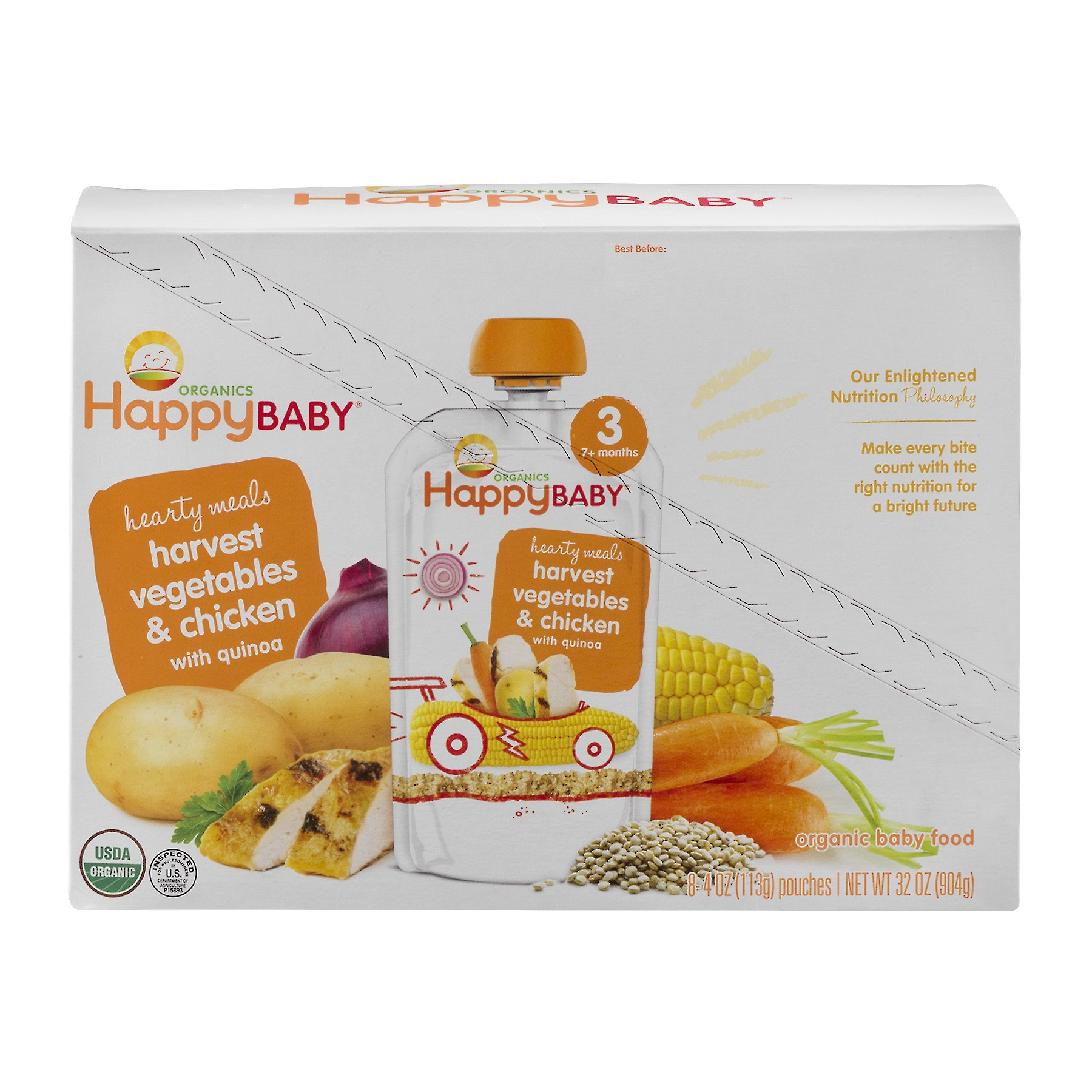 (8 Pack) Happy Baby Hearty Meals, Stage 3, Organic Baby Food, Vegetables & Chicken with Quinoa - 4 oz