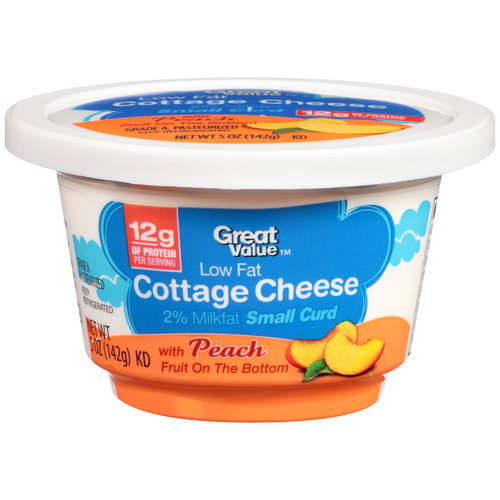 Good Great Value Low Fat Cottage Cheese With Peach Fruit On The Bottom, 5 Oz