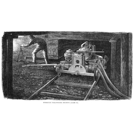 Coal Mining 1867 Na Miner With A Hydraulic Coal-Cutting Machine Wood Engraving English 1867 Rolled Canvas Art -  (24 x 36)