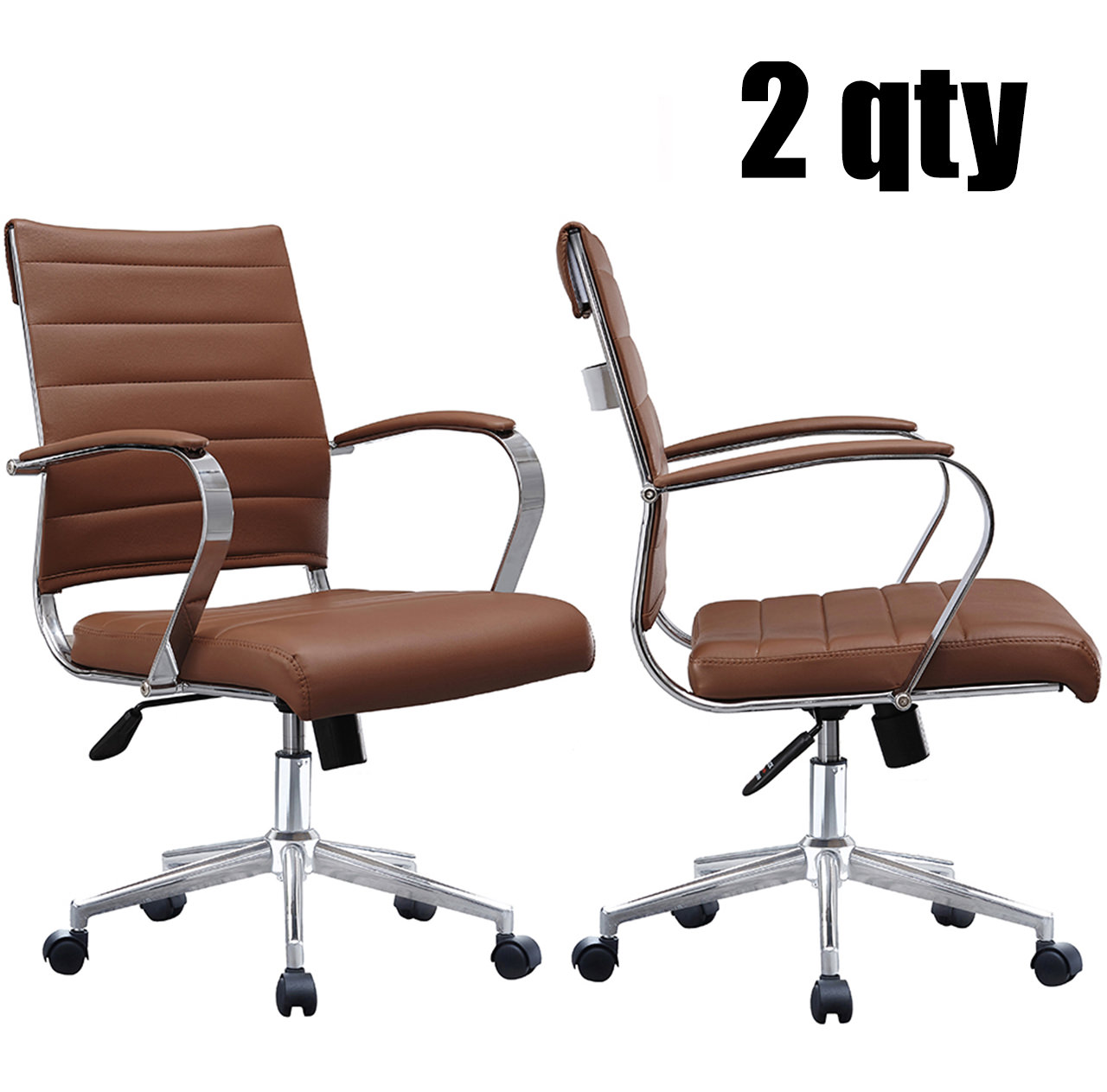 2xhome Set of Two - Black- Modern Mid Back Ribbed PU Leather Swivel Tilt Adjustable Chair Designer Boss Executive Management Manager Office Conference Room Work Task Computer …